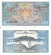 Bhutan P12, 1 Ngultrum, Simtokha Dzong Palace / Dragons! - Bhutan