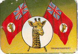 Old Chromo Embossed Label TANGANIKA GIRAFFE Flags Drapeau Coat Of Arms 6X4cm - Centrafricaine (République)