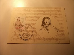 Cartolina Postale Carte Postale ITALIANA Storia Postale NICOLO' PAGANINI GENOVA 82 GIORNO DI EMISSIONE - Chanteurs & Musiciens