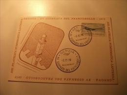 Cartolina Postale Carte Postale ITALIANA Storia Postale XV GIORNATA DEL FRANCOBOLLO 1973 LA LANTERNA GENOVA - Genova (Genoa)
