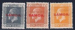Samoa, Scott #128-30 Mint Hinged New Zealand Stamps, Overprinted, 1917-9 - Samoa