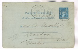 ENTIER SAGE 15C BLEU REPIQUAGE EN AMERICAIN PARIS 1880 / BOSTON USA RARE