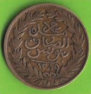 TUNISIE / 2 KHAROUBS / AH 1289  : 1872 AC / ETAT  TTB / K.M. # 134.1 - Tunisia