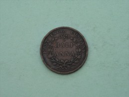 1835 - 1/2 One Half ANNA - East India Company / KM 447.1 ( Uncleaned Coin / For Grade, Please See Photo ) !! - Inde