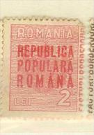 Romania, Fiscaux, Revenue Stamps, 2Lei, RPR - Revenue Stamps
