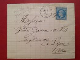 Lettre 1870  St SAINT PIERREVILLE Ardeche Pour Lyon Via Marseille (variété Sur Timbre) - Marcophilie (Lettres)