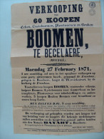 Affiche poster openbare verkoop BESELARE bomen uit bos FRAMBOOS, bij de herberg Wervikstraat 1871(!)