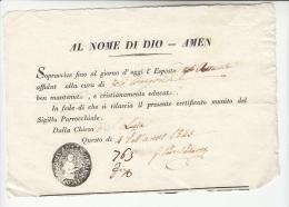 DE372-1845 STATO CHIESA Certificato Esistenza Di ESPOSTA Della PARROCCHIA S.LUCIA-FAENZA-timbro NEGATIVO PARROCCHIA - Documents Historiques