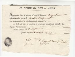 DE376-1845 STATO CHIESA Certificato Di Esistenza ESPOSTA Parrocchia VILALFRNACA FORLI'-t.NEGATIVO PARROCCHIA - Historische Dokumente