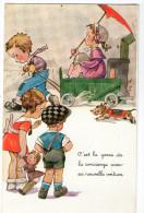 CPA        HUMOUR ENFANTS     C EST LA GOSSE DE LA CONCIERGE AVEC SA NOUVELLE VOITURE - Cartes Humoristiques