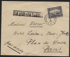 """Rare cachet """"Fleur de Lys"""" PAR AVION PER VLIEGTUIG sur lettre de BRUXELLES vers Paris le 1/10/1920. Arr. Paris au verso."""