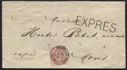 Tr�s rare expr�s POSTAL (au tarif de 30c jusqu'au 1/3/1878) s/lettre N�34 obl. BRUXELLES EST vers Mons le 20/11/1876. TB