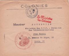 """1945 Franchise """" LE MINISTRE DES COLONIES"""" + Cachet Sur Lettre à En-tête. Obl """" BUREAU DU COURRIER OFFICIEL PARIS - Autres"""