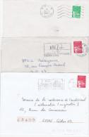 """Lot De 3 Lettres Avec Marianne De De Luquet Obl Méca  """" PP """" . PEU COURANT SUR TIMBRE - Marcofilia (sobres)"""