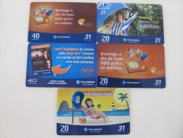 Lot 4:  5 Different Phonecard,volleyball, Two Cards With Scratch - Brésil