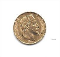 20 Francs OR - Empire fran�ais - napoleon III tete laur�e  - Ann�e 1868 A - Etat SUP +