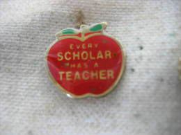 Pin´s Pomme Rouge, Every SCHOLAR Has A TEACHER ( Chaque Auteur A Un ENSEIGNANT) - Administrations