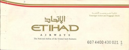 Etihad Airways Passenger Ticket, Lahore - Abu Dhabi - Doha - Abu Dhabi - Lahore