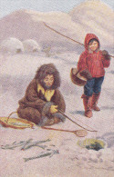 GREENLAND, 1900-1910s; Icy Mountains, Esquimo Boys On A Little Fishing Expedition - Greenland