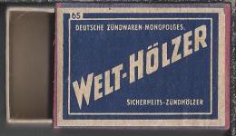 Luciferdoosje. Welt-Hölzer. Deutsche Zündwaren Monopolges. Boite D'allumettes, Matchbox, Lucifer, Matches. 2 Scans - Luciferdozen