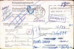 Carte Prisonnier Paris Vers Feldpost 03159, Rawa Ruska, Nicht Stalag IIIB Etc.. RRR - WW II