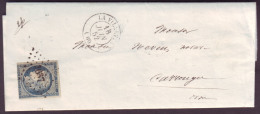 SEINE - LAC - Tàd T15 La Villette + PC 3637 Sur N° 4 (25c Bleu Cérès) Pour Carrouges (59) - Marcophilie (Lettres)