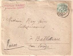 Lettre De MARSEILLE DEPART Sur Type Blanc 5 C Vert Jaune + Bordereau Carrières Du Midi > Bellesserre, Tarn, TB - 1900-29 Blanc
