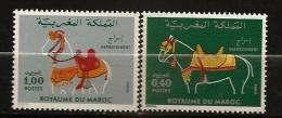 Maroc 1980 N° 858 / 9 ** Animaux, Harnachement, Chevaux, Cheval, Monte, Selle, Licol, Etrier, Mors, Bride, Rênes, Tapis - Morocco (1956-...)