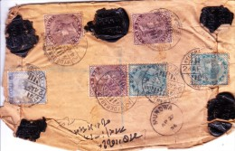 BRITISH INDIA - 1896 REGISTERED LETTER BOOKED FROM HYDERABAD RAILWAY STATION TO MUNDWA - USE OF SEVERAL VICTORIA STAMPS - India (...-1947)