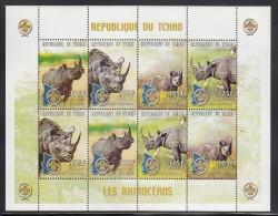 Chad MNH Scott #874 Minisheet Of 2 Strips Of 4 375fr Rhinoceros, Scout Emblem - Tchad (1960-...)