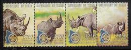Chad MNH Scott #874 Strip Of 4 375fr Rhinoceros, Scout Emblem - Tchad (1960-...)