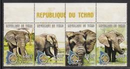 Chad MNH Scott #880 Strip Of 4 600fr Elephants, Scout Emblem - Tchad (1960-...)