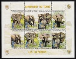 Chad MNH Scott #880 Minisheet Of 2 Strips Of 4 600fr Elephants, Scout Emblem - Tchad (1960-...)