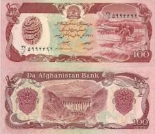 Afghanistan P58c, 100 Afghans, Factory & Man Haying / Darunta Dam $2CV!  See UV Image - Afghanistan