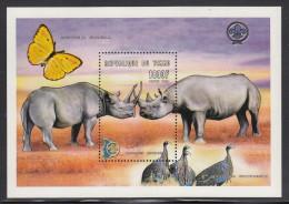 Chad MNH Scott #882 Souvenir Sheet 1000fr Rhinoceros, Scout Emblem - Tchad (1960-...)