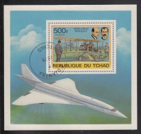 Chad Used Scott C237 Souvenir Sheet 500fr Wright Brothers, Flyer - History Of Aviation - Tchad (1960-...)