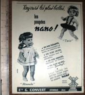 PUB PUBLICITE POUPEE NANO TWIST MINOUCHE OYONNAX ETS G CONVERT - Colecciones