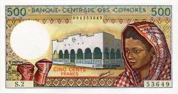 COMOROS P. 10a 500 F 1986 UNC (s. 7) - Comores
