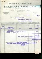 Etablissements Maxime Daydé - Le Havre (76) : Facture Du 31 Mars 1950 - France