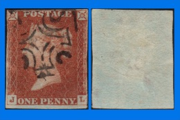 GB 1841-0097, QV 1d Red-Brown Letters J-L SG8, MC Cancel - 1840-1901 (Victoria)