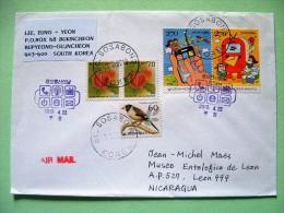 South Korea 2013 FDC Cover To Nicaragua - Postal Box - Cell Phone - Fruits - Birds - Corea Del Sud