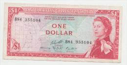East Caribbean States 1 Dollar 1965 VF+ CRISP Banknote P 13g 13 G - Caraïbes Orientales