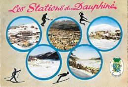 Olympique - Les Stations Du Dauphiné - Multivues: Grenoble, Autrans, Chamrousse... - Carte La Cigogne Non Circulée - Winter Sports