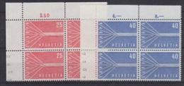 Europa Cept 1957 Switzerland 2v Bl Of 4 ** Mnh (15158) - 1957