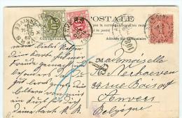 Cpa De 1904 France > Belgique Affranchie 10 Semeuse Et Taxée 30c à Anvers - Visuel Peniche Transport De Vin - Batellerie - Lettres Taxées