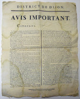 1795 Instituteur Affiche R�volution  Ecole Primaire Instruction Publique TB texte Convention Nationale A LIRE Dijon