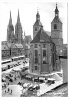 Regensburg, Neupfarrplatz, Dom Und Neupfarrkirche, Oldtimer, 1971, S/w - Regensburg