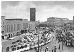 Düsseldorf, Wilhelmplatz Mit Hauptbahnhof, Straßenbahn, 1958, S/w - Düsseldorf