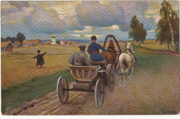 Riga No 185 Lenz And Rudolff Russian Art Card Signed Attelage Horse Cart - Lettonie