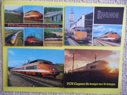 Lot De 4 CP Représentant Le TGV Sud-Est Dans Les Années 1981/85 - Materiale